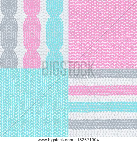 Knitted colorful seamless texture . A vector.