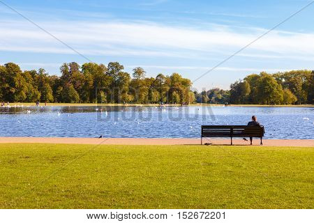 Round Pond in Hyde Park, London, UK