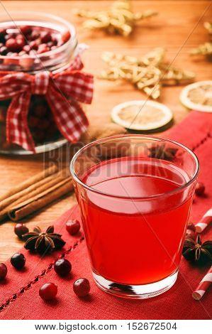 Christmas beverage - cranberry kissel on festive table.