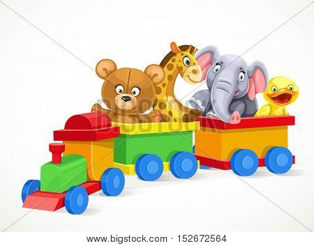 Toy train with soft toys on the train isolated on white background