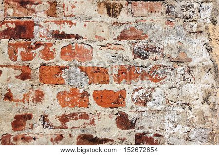 Cracked concrete vintage brick wall abstract background