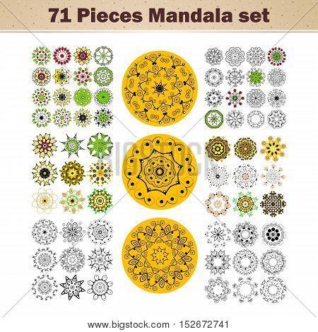Vector beautiful ornamental rosettes set. For ethnic or tattoo design. Vector illustration