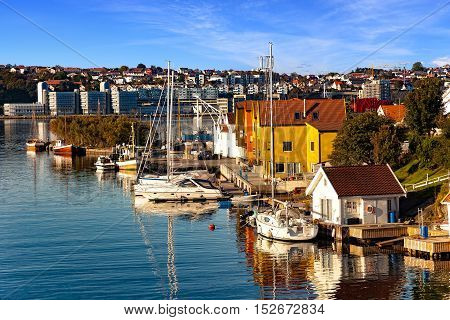 Small fishing harbor at morning in Stavanger Norway.