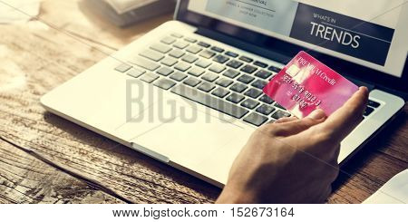 Man Hands Credit Card Purchase Concept