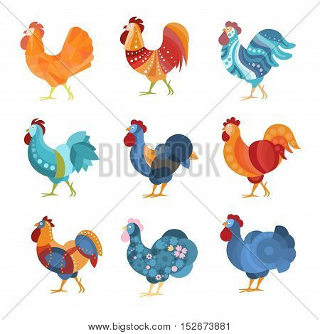 Rooster Similar Drawings Set Colored In Different Styles. Cool Graphic Design Farm Birds With Simple Bright Patterns. Stylized Flat Vector Illustrations Isolated On White Background.