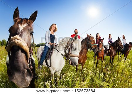 Group of six happy equestrians riding their horses in the summer field