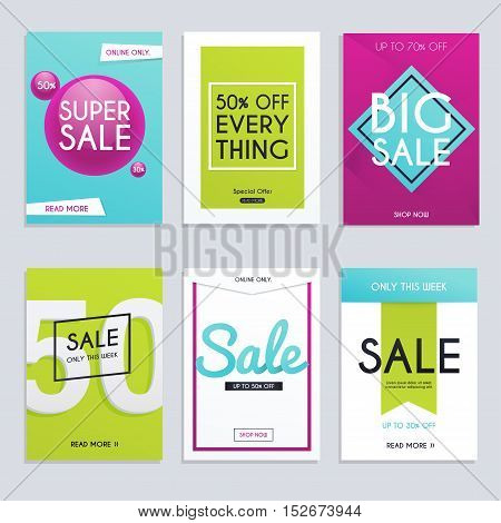 Set Media Banners With Discount Offer. Shopping Background, Label For Business Promotion. Can Be Use