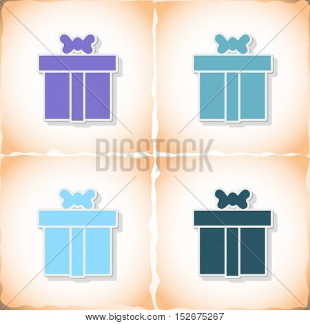 Gift. Flat sticker with shadow on old paper. Vector illustration