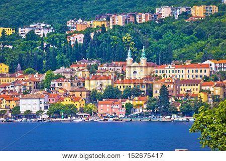 Town of Volosko waterfront view Kvarner bay of Croatia