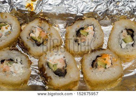 Hot Sushi Rolls Macro