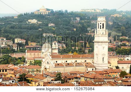 aerial view of the Duomo di Verona cathedral