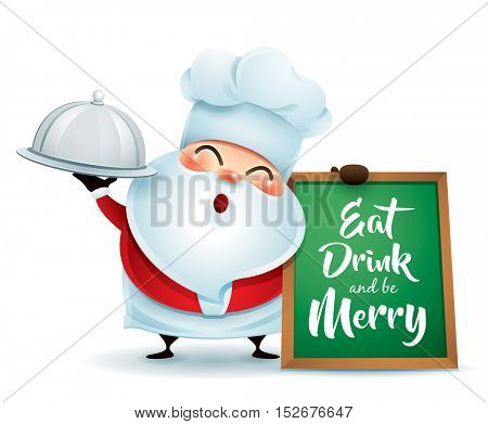 Chef Santa Claus with a serving tray and message board