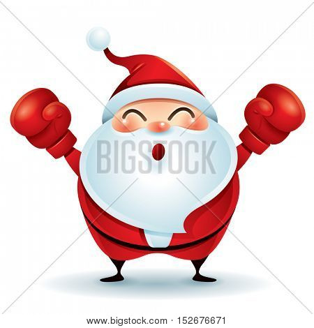 Happy Boxing Day. Santa Claus with red boxing glove.