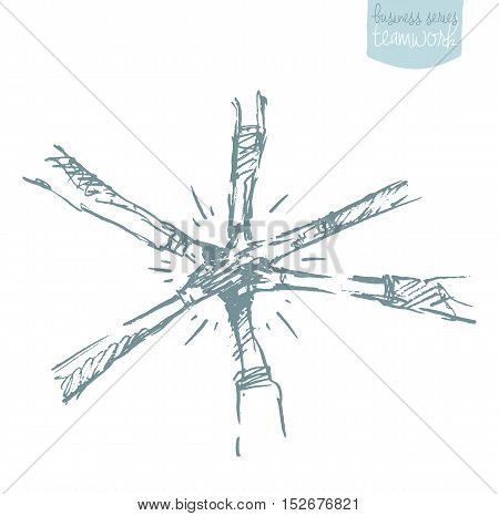 Hand drawn vector illustration of a people, putting their hand on top of each other. Teamwork, collaboration concept. Vector illustration, sketch