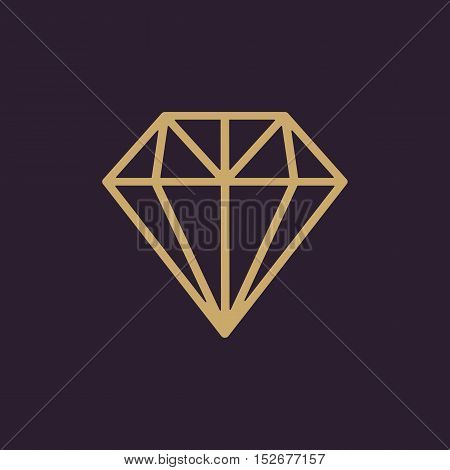 The diamond icon. Jewel symbol. Flat Vector illustration