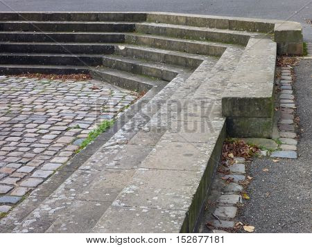 Grey Concrete Outdoor Stairs With Pavement