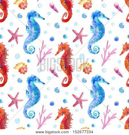 Seahorse, shell, starfish, coral and bubbles seamless pattern.Underwater world image on a white background.Watercolor hand drawn illustration.