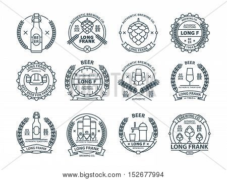 Outline colorless vector beer emblems, symbols, pub labels, badges collection