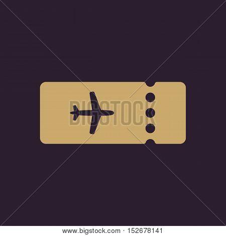 The blank ticket plane icon. Travel symbol. Flat Vector illustration