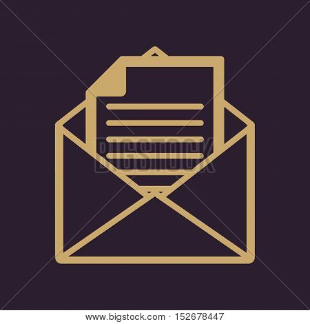 The mail icon. Open Envelope symbol. Message sign. Flat Vector illustration
