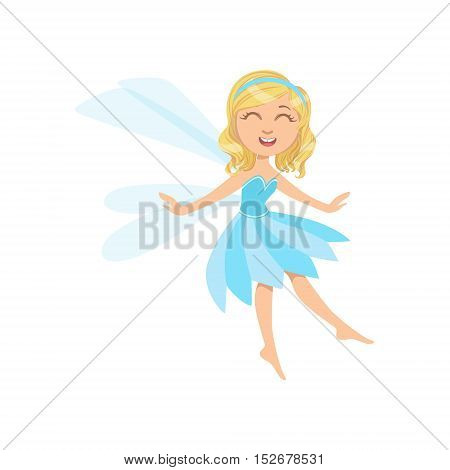 Cute Fairy In Blue Dress Girly Cartoon Character.Childish Design Fairy-tale Creature Simple Adorable Illustration.