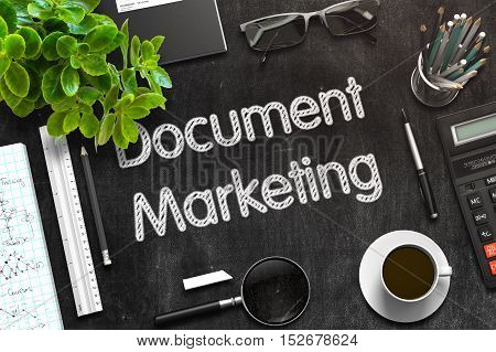 Document Marketing - Text on Black Chalkboard.3d Rendering. Toned Illustration.