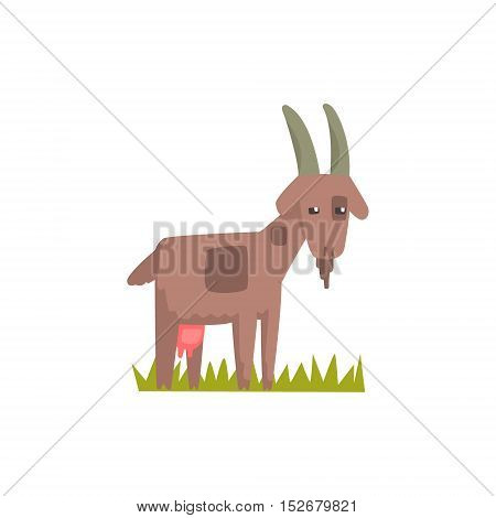 Goat Toy Farm Animal Cute Sticker.Bright Color Funky Flat Drawing In Geometric Style.