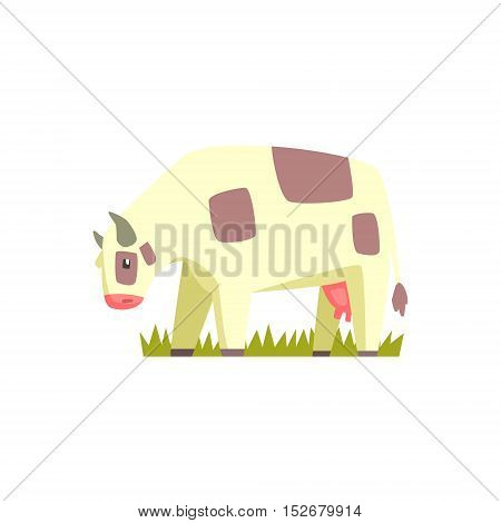 Chubby Cow Toy Farm Animal Cute Sticker.Bright Color Funky Flat Drawing In Geometric Style.