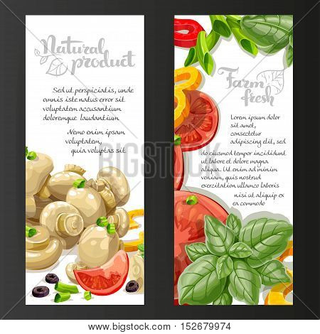 Two White Vertical Banners With Fresh And Marinated  Vegetables On A Black Background