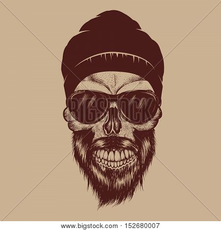 Fashionable skull with sunglasses, beard and hat.Street guy.Vector hand drawn illustration