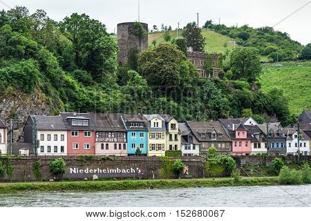 Niederheimbach Germany - May 23 2016: Niederheimbach village in the Unesco World Heritage area of the Rhine Valley in cloudy weather
