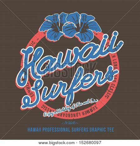 Surfing t-shirt print. Hibiscus Flower. Vector Illustration