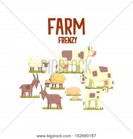 Toy Farm Animals Cute Sticker.Bright Color Funky Flat Drawing In Geometric Style.