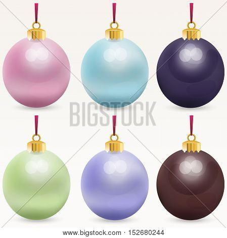 Very high quality original trendy realistic vector multicolor christmas balls
