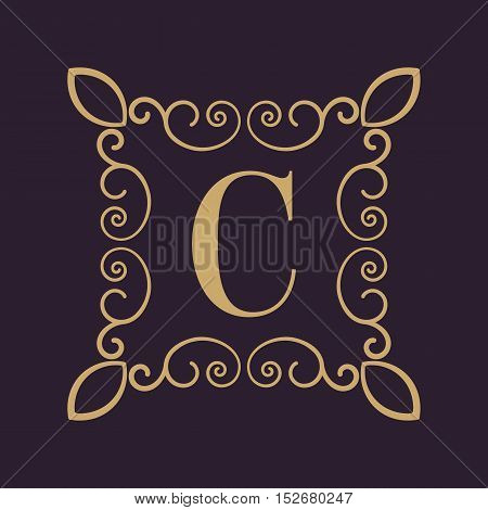 The Monogram letter C. Calligraphic ornament. Gold. Retro, Business and Vintage Concepts. Vector illustration