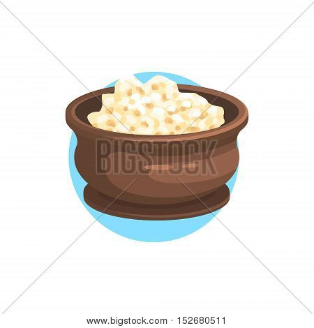 Cottage Cheese Farm Product Colorful Sticker With Blue Circle On The Background In Detailed Simple Vector Design