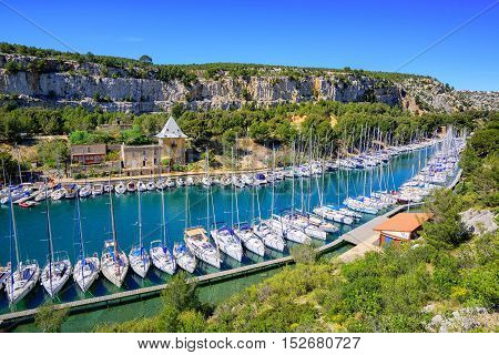 White yachts in Calanque de Port Miou one of biggest fjords between Marseille and Cassis France