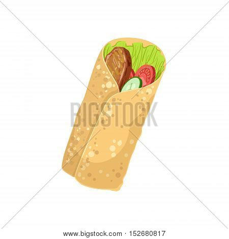 Wrap Street Food Menu Item Realistic Detailed Illustration. Take Away Lunch Icon Isolated On White Background.