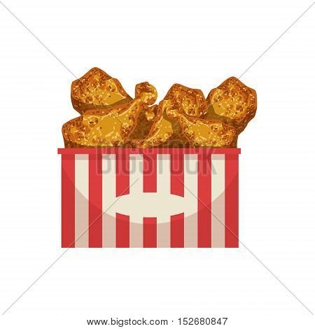 Chicken Legs Street Food Menu Item Realistic Detailed Illustration. Take Away Lunch Icon Isolated On White Background.