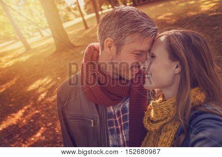 walking beloved girlfriend with boyfriend into the woods