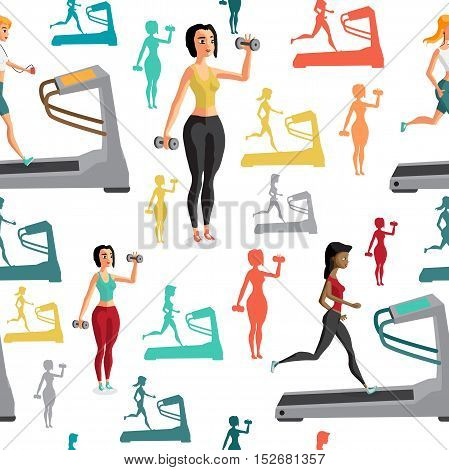 Young women involved in sports. They shall run on the treadmill, lift weights. Textile seamless pattern flat cartoon style