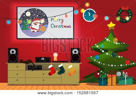 Christmas room interior. Christmas tree, gift, socks and decoration. TV, loudspeakers, receiver for home movie theater and music in the apartment. Flat cartoon vector illustration