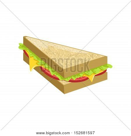 Triangle Sandwich Street Food Menu Item Realistic Detailed Illustration. Take Away Lunch Icon Isolated On White Background.