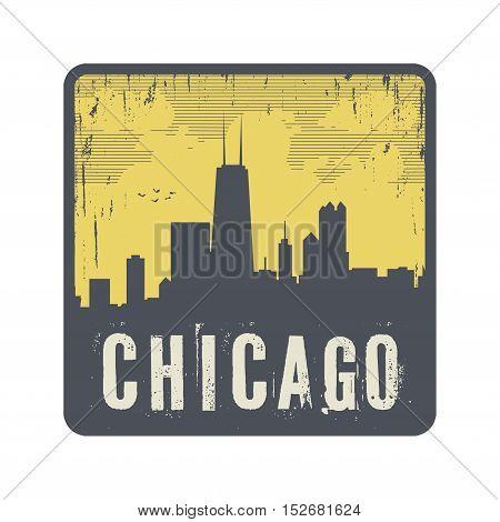 Grunge vintage stamp with text Chicago vector illustration