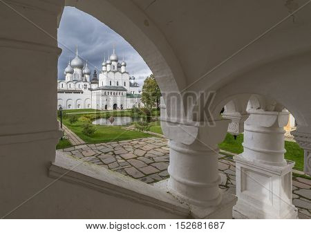 Rostov Russia - September 13 2016: overlooking the Central courtyard of Rostov Kremlin through the arch of the vault.