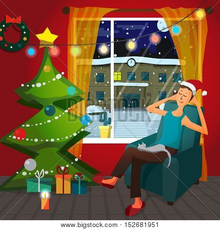 Christmas room interior. Christmas tree, gift and decoration. A man sits in a chair in a good mood and keep the cat on him lap. Flat cartoon vector illustration