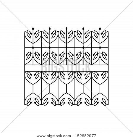 Classic Curled Lattice Fencing Design Forged Iron Lattice Park Fence Black And White Vector Template