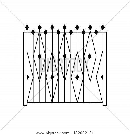 High Garden Metal Latice Fencing Design Forged Iron Lattice Park Fence Black And White Vector Template
