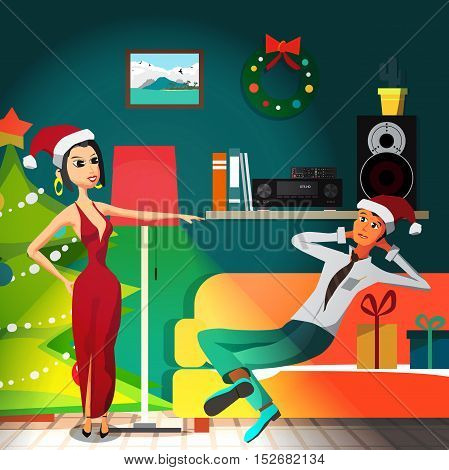 Christmas room interior. Christmas tree, gift and decoration. A woman and a man preparing for a party. Flat cartoon vector illustration