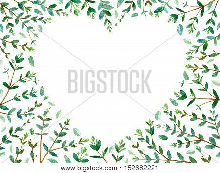 frame of heart with eucalyptus branches.green floral border.watercolor hand drawn illustration.